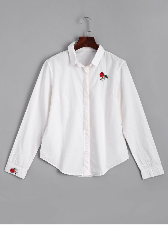 hot Button Down Rose Embroidered Shirt - WHITE XL