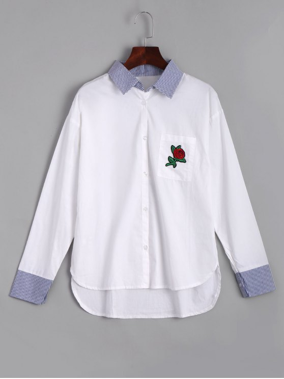 shops Rose Embroidered Stripes High Low Shirt - WHITE L