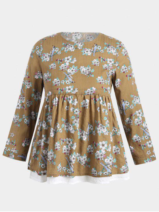Plus Size Babydoll Floral Top - Giallo 2XL