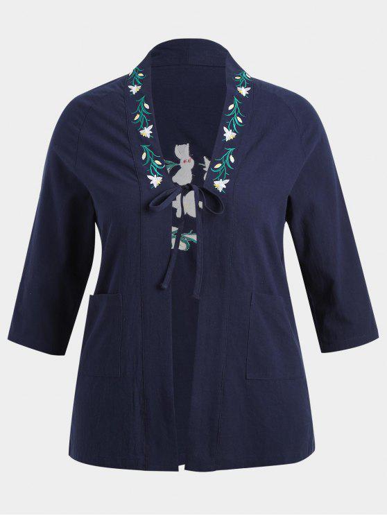 زائد حجم زهرة مطرزة كيمونو - الأرجواني الأزرق 2XL