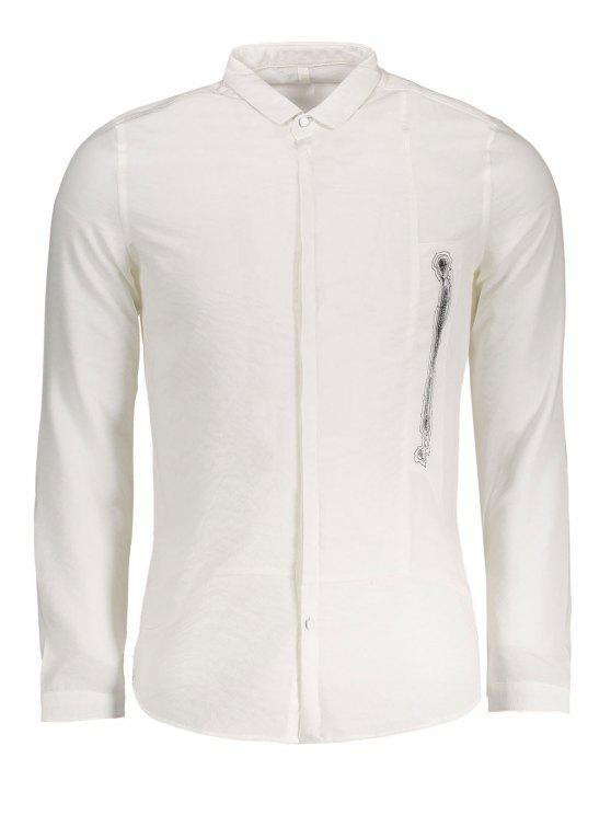 Herren Hemd mit Grafik - Weiß 3XL
