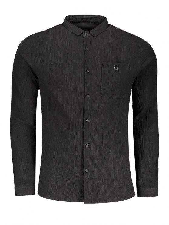 Camisa con botones de botones - Negro 3XL