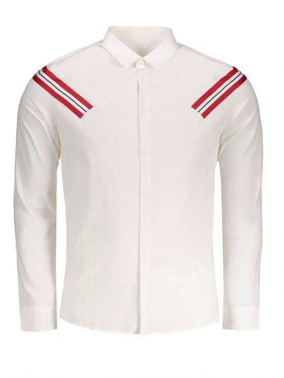 Hemd mit Streifenmuster und Applikation - Weiß 3XL