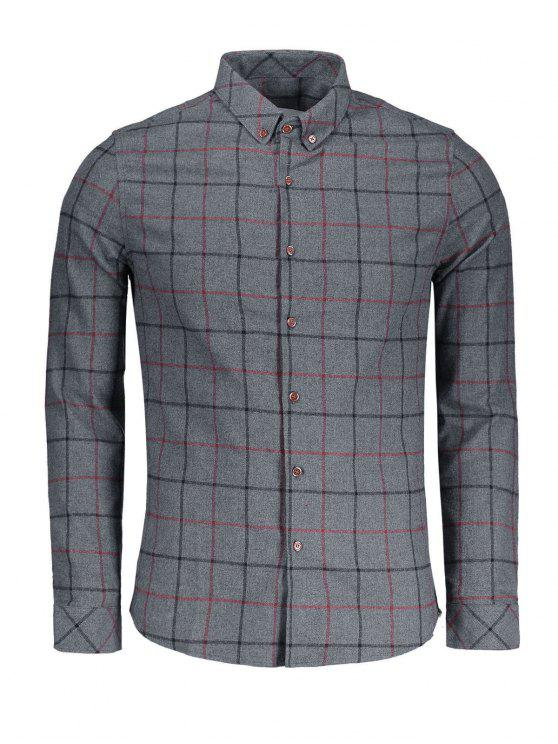 chic Checked Flannel Shirt - DEEP GRAY 3XL