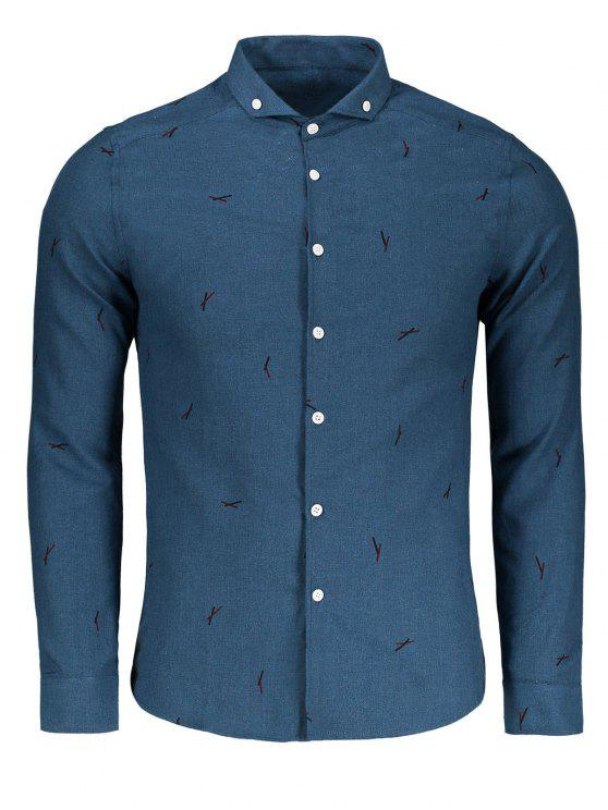 hot Button Down Printed Casual Shirt - BLUE XL