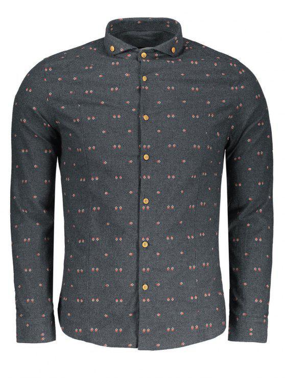 Chemise boutonnée géométrique - Gris XL