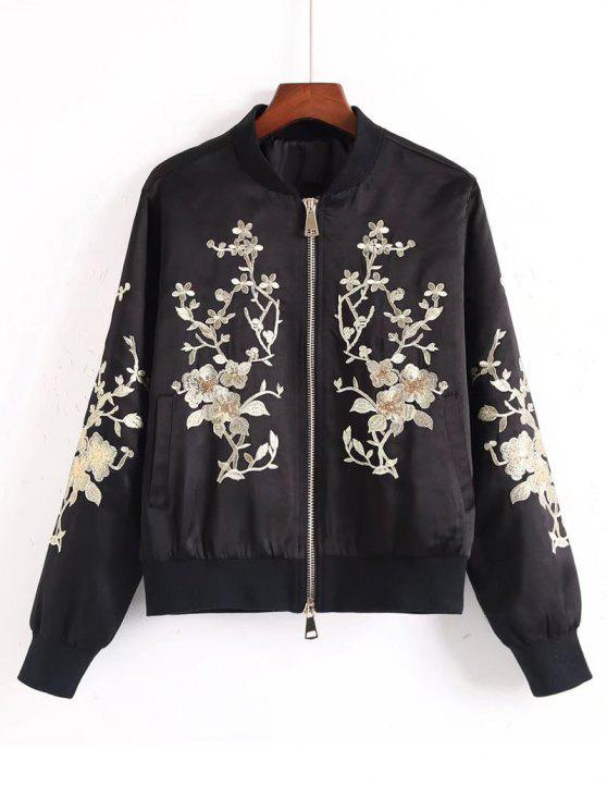 Sequins Giacca bomber ricamato floreale - Nero S