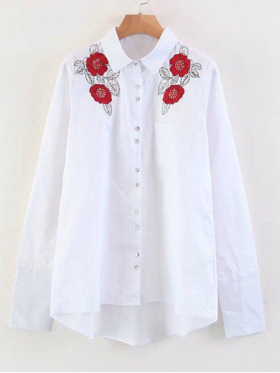 hot Floral Embroidered Sequins High Low Shirt - WHITE S