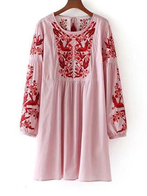 فستان طويلة الأكمام مخطط مطرز شرابة - أحمر L
