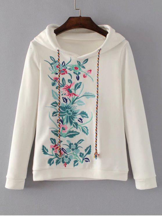 latest Cute Floral Embroidered Hoodie - WHITE M