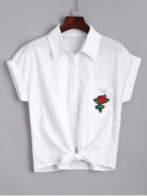 trendy Short Floral Embroidered Bow Tied Shirt - WHITE S