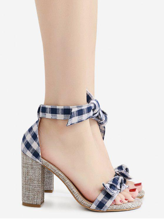 Sandalen mit Knoten und Karomuster , Blockabsatz - Blau 38