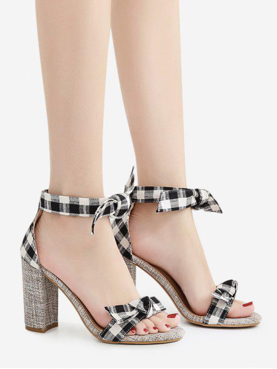 Bowknot Block Heel Plaid Pattern Sandals - Noir 38