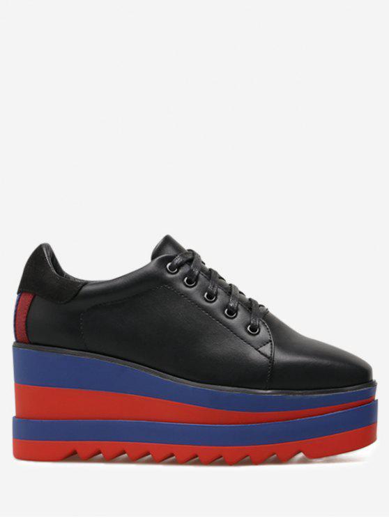 Tie Up Platform Square Toe Wedge Shoes - Preto 39