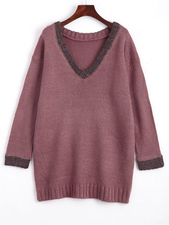 outfit Loose Contrasting V Neck Sweater - PURPLE ONE SIZE