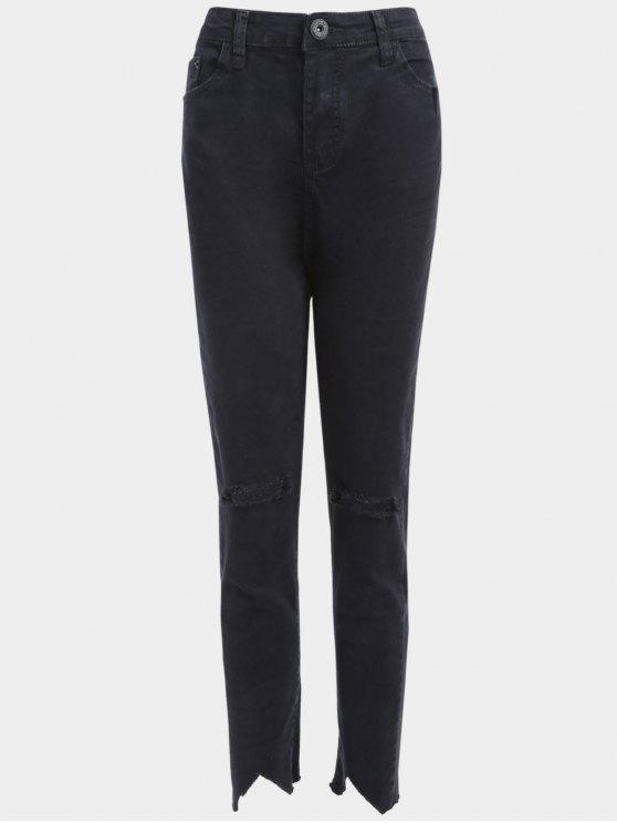 جينز الحجم الكبير مهترئ - أسود 2XL