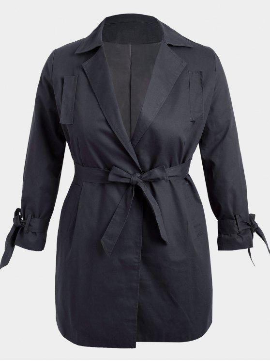 fancy Plus Size Wrap Coat - BLACK 3XL