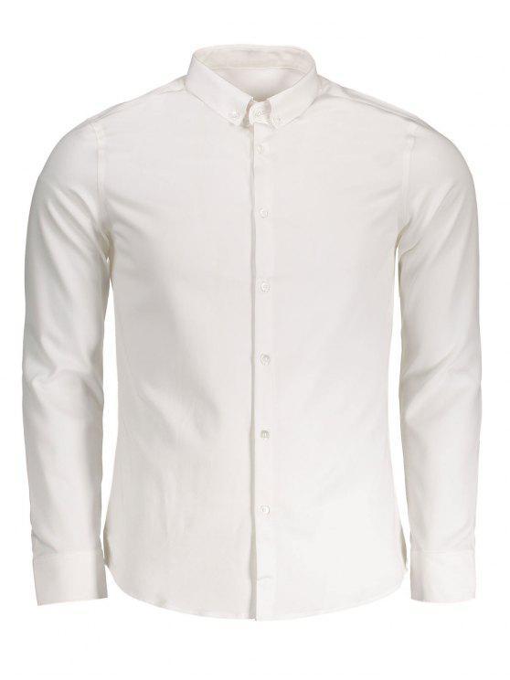 زر قميص أسفل - أبيض 3XL