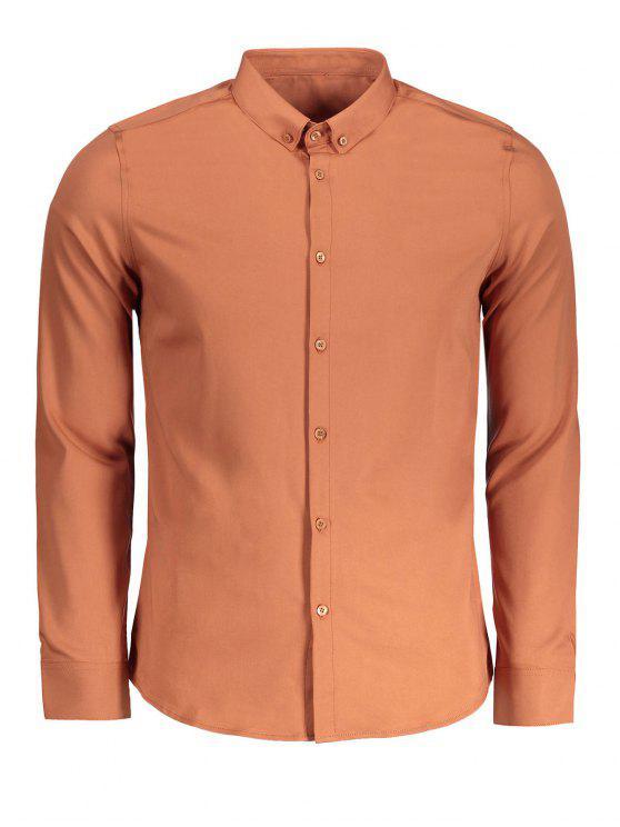 Chemise boutonnée - Brun 3XL