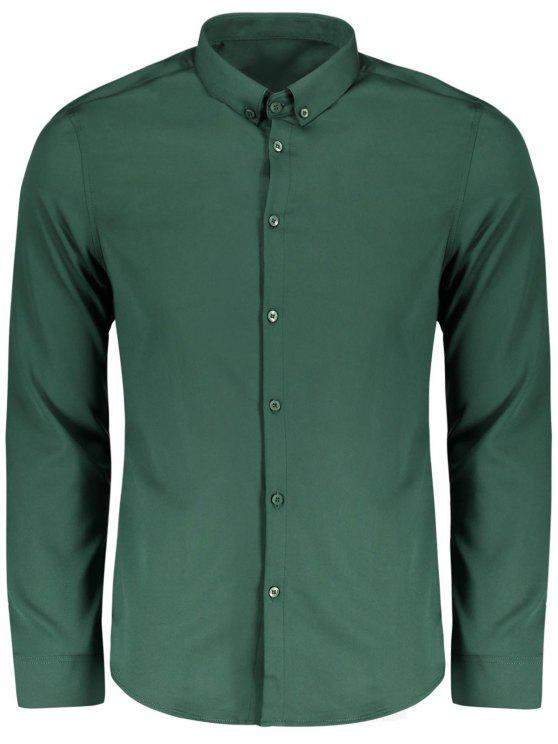 trendy Button Down Shirt - GREEN XL