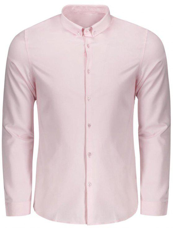 affordable Button Down Shirt - PINK XL