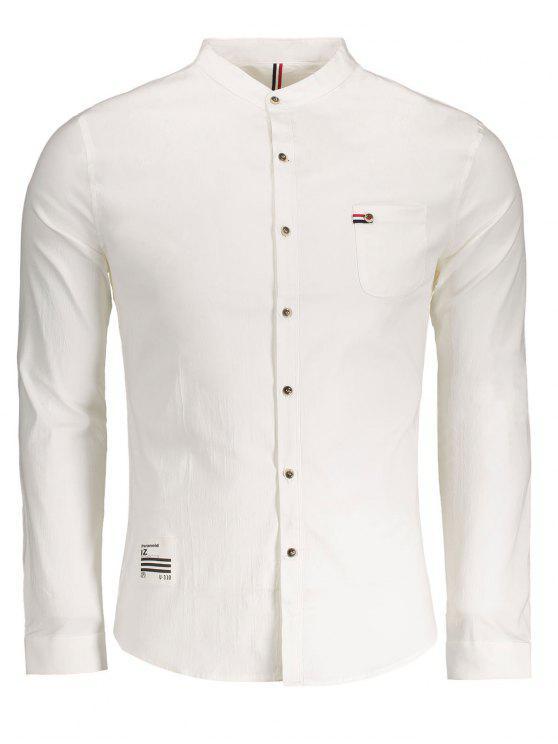 Chemise Boutonnée avec Poche en Avant - Blanc 3XL