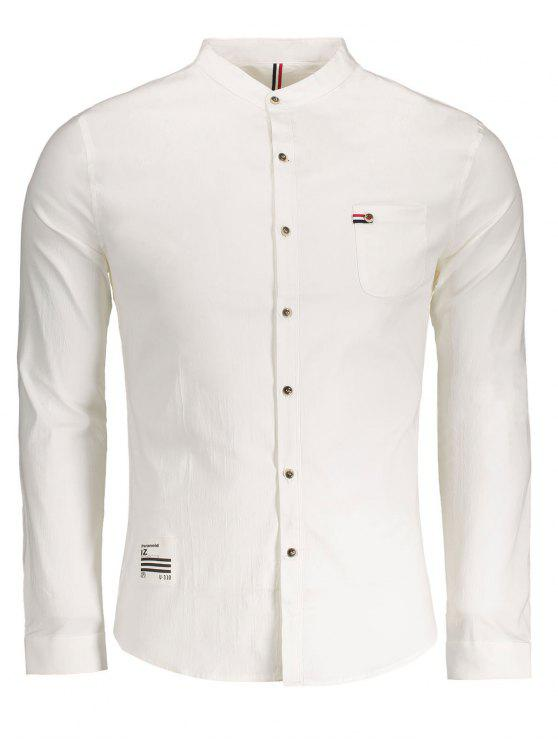 outfits Front Pocket Button Up Shirt - WHITE 2XL