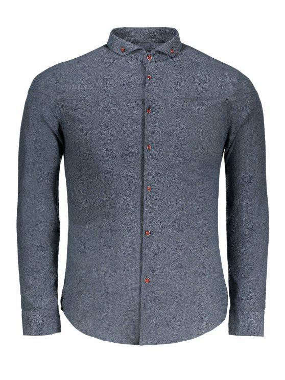 Camisa de flanela com botão para baixo - Cinza 2XL