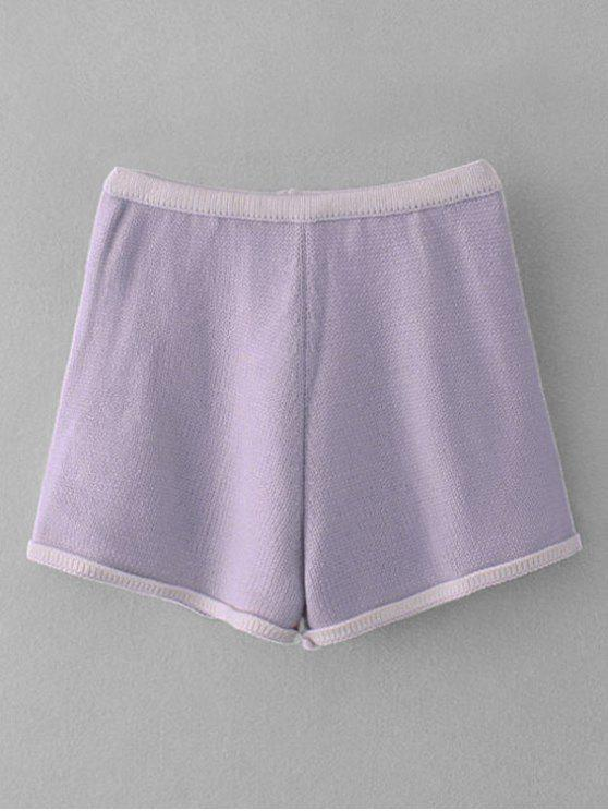 women Knitted Two Tone Short - LIGHT PURPLE ONE SIZE