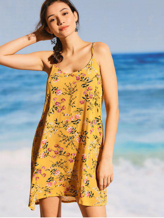 فستان تغطية كامي طباعة الأزهار - الأصفر L