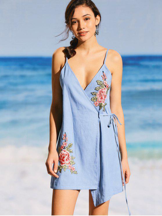 Floral Applique Denim Cami Wrap Dress - Bleu clair XL