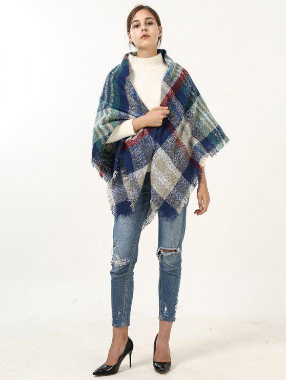 Écharpe en écharpe à carreaux larges à franges - Bleu
