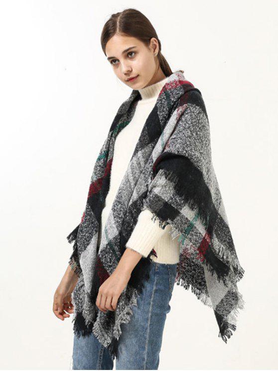 Bufanda ancha del abrigo de la tela escocesa del borde - Negro