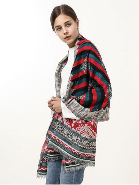 Echarpe en écharpe à motifs à motifs géométriques géométriques ethniques - Bleu et Rouge