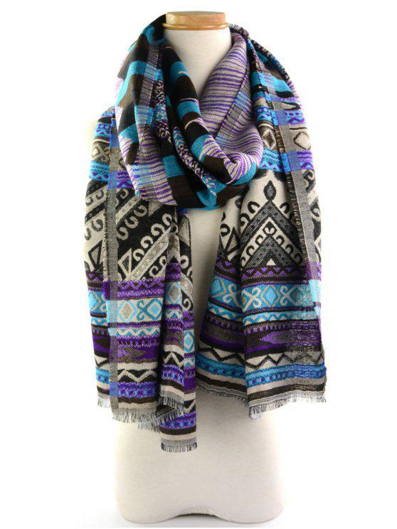 Geometrischer Ethnischer Wickel Schal mit Quaste und Blumenmuster - blau violet
