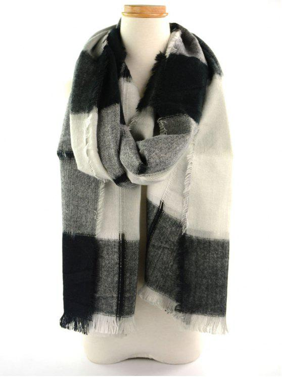chic Plaid Knitted Broken Hole Design Fringed Brim Scarf - BLACK WHITE