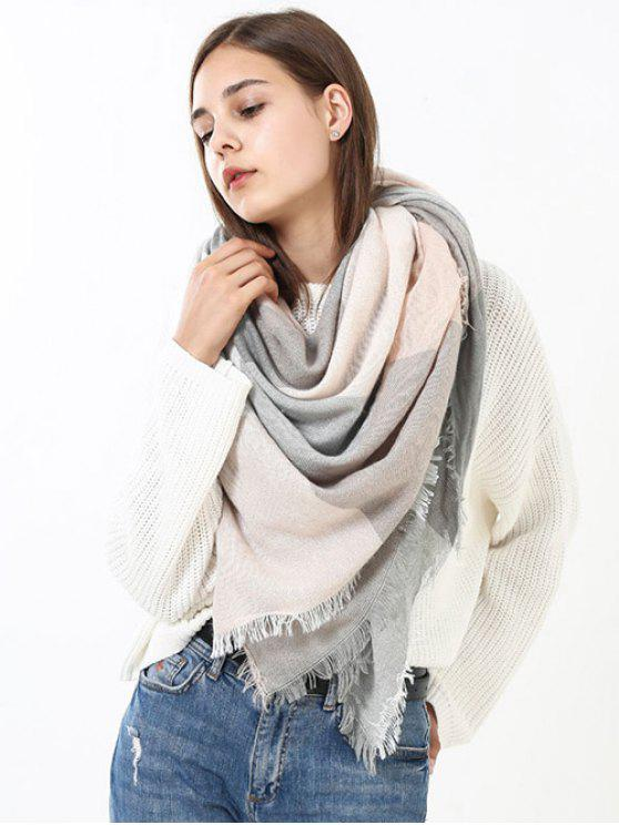 online Fringed Brim Checked Long Wrap Scarf - PINK AND GREY