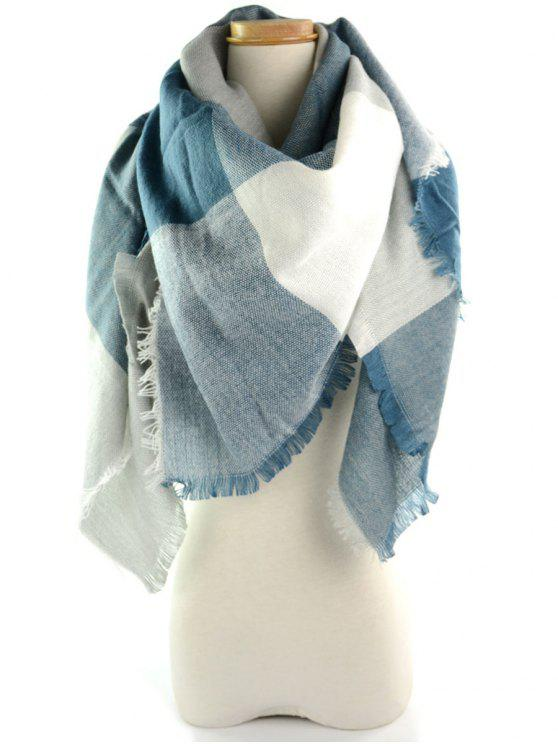 Fralda Brim Checked Long Wrap Scarf - Azul Cinza