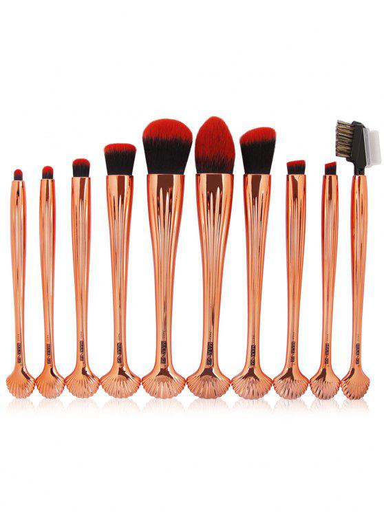 10Pcs Gradient Color Multifunction Ocean Shell Brushes Set - Preto + Dourado