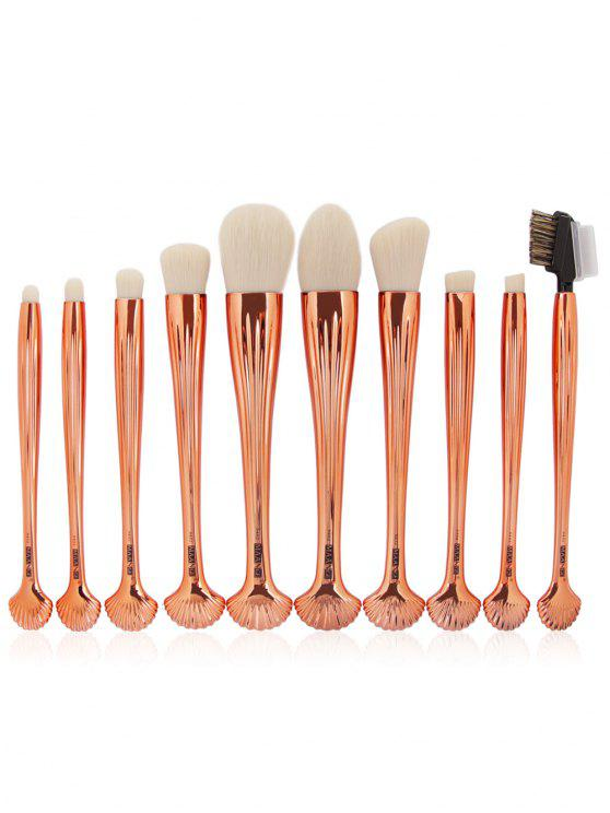 10Pcs Gradient Color Multifunction Ocean Shell Brushes Set - Or et Blanc