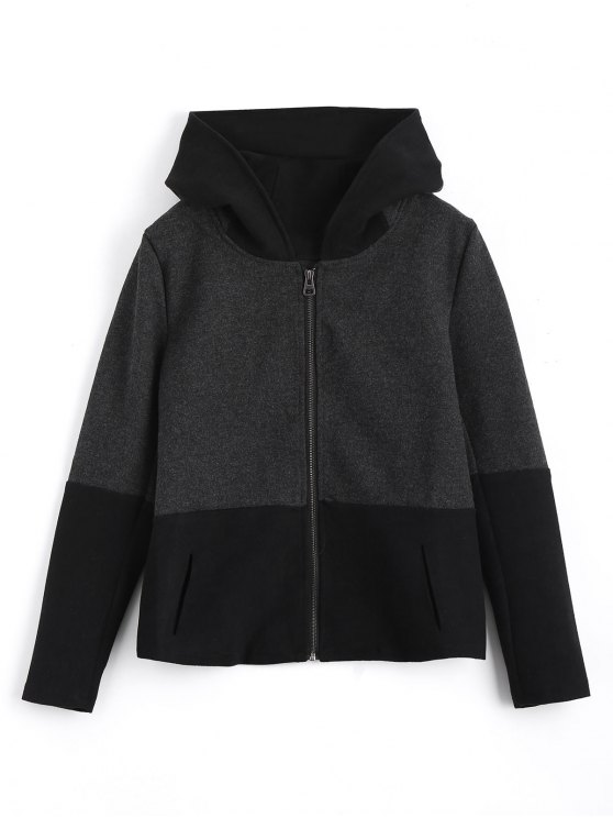 trendy Zip Up Hooded Jacket with Fuzzy Ball - BLACK AND GREY XL