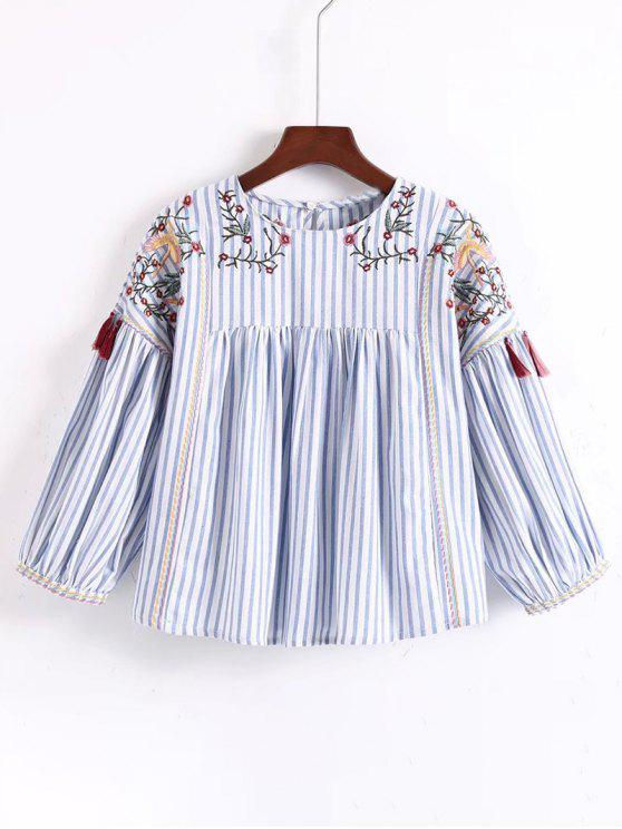 trendy Floral Embroidered Tassels Stripes Blouse - STRIPE S