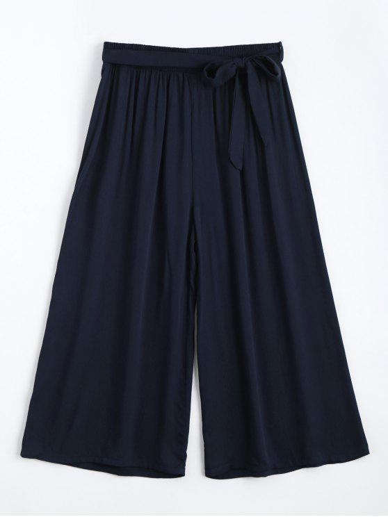 Capri High Waisted Belted Wide Leg Pants - Azul Arroxeado Um Tamanho