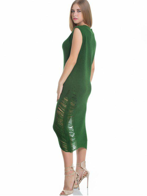 affordable Sleeveless Ripped Sweater Midi Dress - GREEN ONE SIZE
