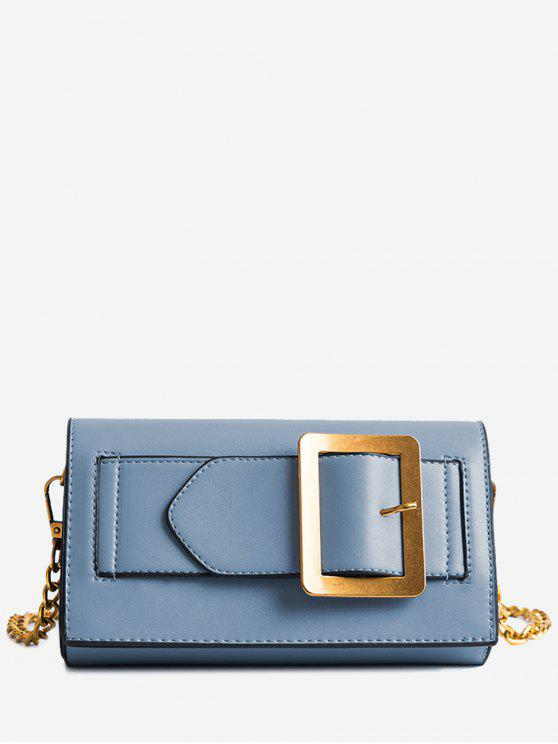 outfit Buckle Strap Faux Leather Chain Crossbody Bag - BLUE