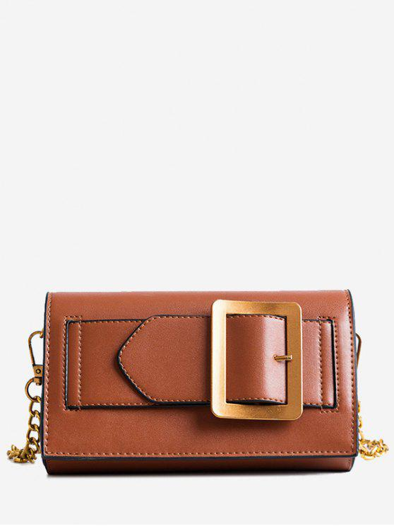shops Buckle Strap Faux Leather Chain Crossbody Bag - BROWN