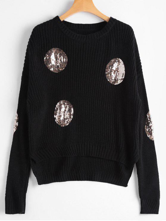 womens Knit Round Sequins Embellished Sweater - BLACK ONE SIZE