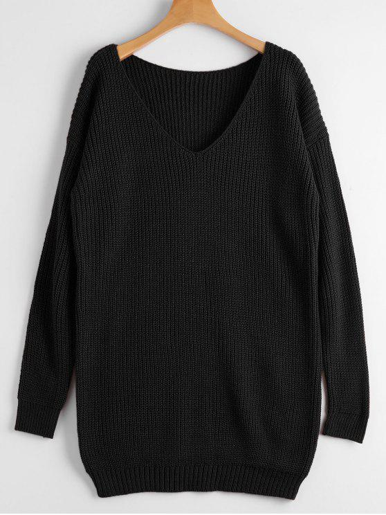 ladies Chunky V Neck Sweater - BLACK ONE SIZE