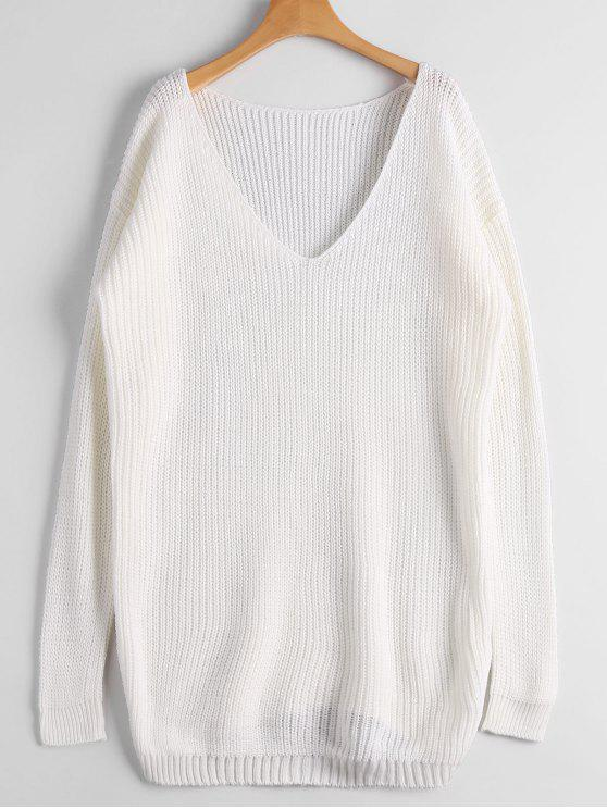 lady Chunky V Neck Sweater - WHITE ONE SIZE