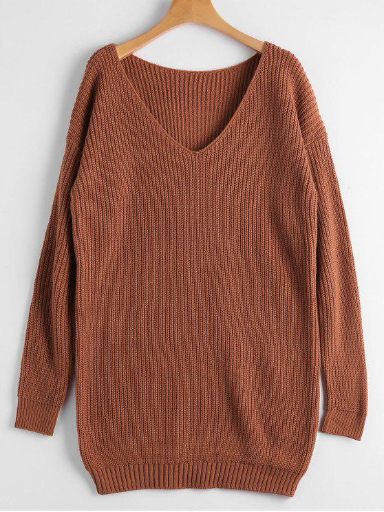 best Chunky V Neck Sweater - BRICK-RED ONE SIZE